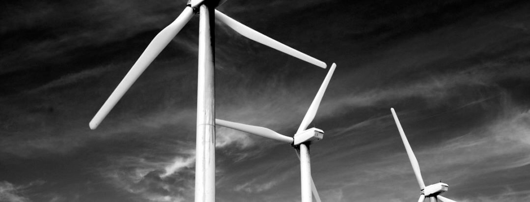renewable energy windfarm image black and white