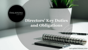 front cover image of Finlaysons free Director's Key Duties Handbook